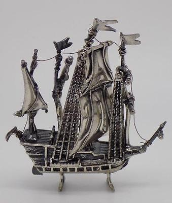 Vintage Sterling Silver 925 Sailing Ship Miniature - Stamped - Made in Italy