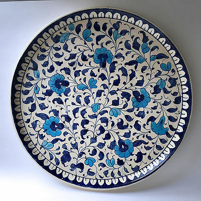 Multani Hand Painted Pottery Plant Tray Platter Blue White Flower Floral 13-1/2""