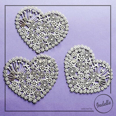 Lace Heart Chipboard Shapes Card Making Papercraft Scrapbooking Ornaments 3 Pack