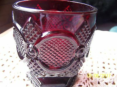 AVON Footed Cup Glass 1876 Cape Cod Ruby Red Glass Vintage