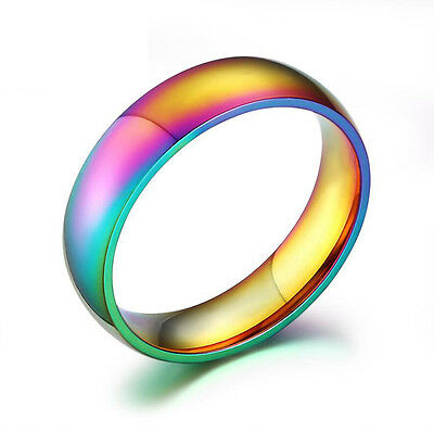 New Fashion Rainbow Ring Stainless Steel Ring Wedding Party Supplies Unisex Gay