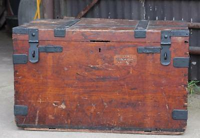 A C19th Stained Pine  & Iron Bound Silver Chest Trunk Storage Box Coffee Table
