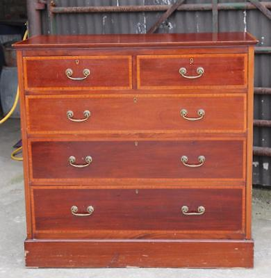 A Quality Edwardian Inlaid Mahogany Two over Three Chest of Drawers