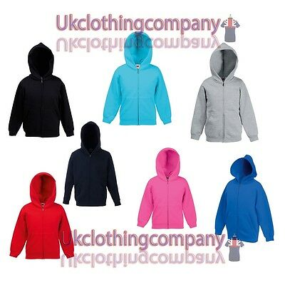 Fruit of the Loom Kids Zipped Hooded Sweatshirt - Childrens unisex hoodies 5-13