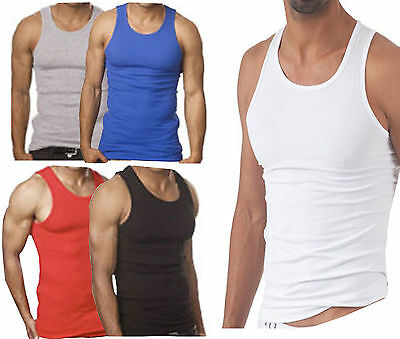 2bbd5119c3bcd 6 X PACK Mens Vests 100% Cotton Tank Top Training Gym Tops Pack ...