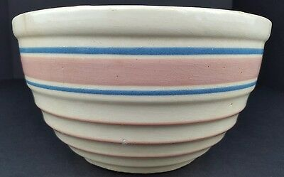 "Vintage Distressed Ceramic Pottery 8"" Mixing Bowl Ribbed Blue Pink Stripes Watt?"