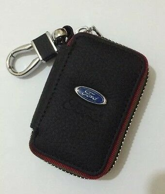Ford Leather Key Cover Case Holder Ring Chain Fob !