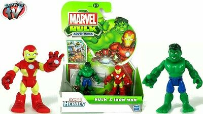 Playskool ,heroes, hulk, and ironman ,figures,role, play, Marvel, kids,collect