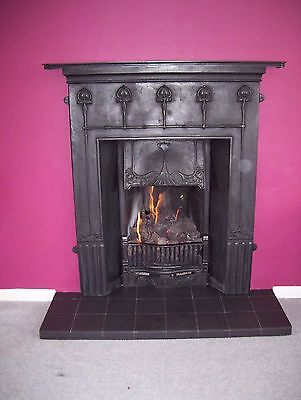 reproduction cast iron fireplace and living flame fire. Black Bedroom Furniture Sets. Home Design Ideas
