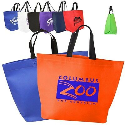 150 Non Woven Tote Bags Custom Printed With Your Logo or Message-Two Tone Handle