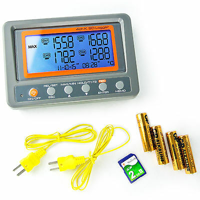 Digital 4 Channels K-type Thermocouple Thermometer SD Card Logger High/Low Alarm