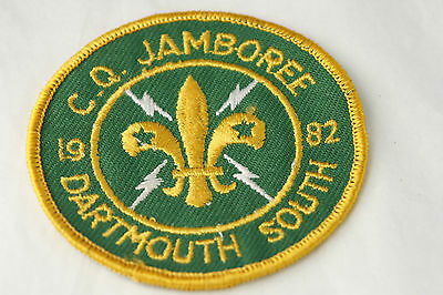 Vtg 1982 Scout CQ Jamboree Badge Dartmouth South Green Gold Round