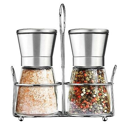 Salt and Pepper Grinder Set with Matching Stand Amison Stainless Steel Adjust...