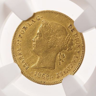 1868 Philippine G1P NGC Certified XF Details Scarce Philippines 1 Peso Gold Coin