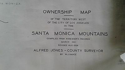 Vtg Santa Monica Owners map West of LA MALIBU  2FT X6FT 1936 MAP VARIOUS OWNERS