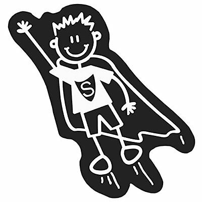 Family Car Decals ADH06689 Adesivo Nero Bambino Superman My Family (N5q)