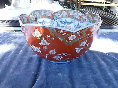 Fine 19Th C Japanese Imari Bowl With Cherry Blossoms On Red Ground