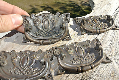 4 heavy DECO handles door brass furniture antiques vintage age old style pulls