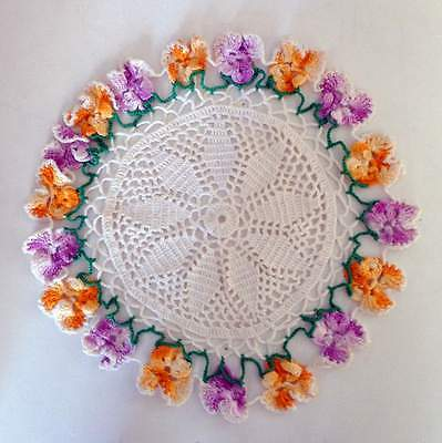 Vintage Hand Crocheted Doily  Purple & Yellow Pansies