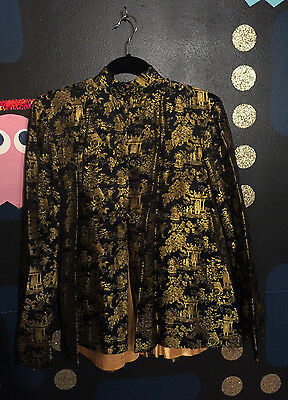 VTG Traditional Black Gold Silk Traditional Asian Brocade Kimono Jacket Coat M