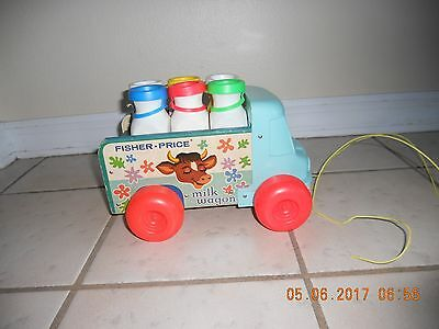 Vintage 1965 Fisher Price Milk Wagon Wooden Truck With Bottles Pull Toy # 131