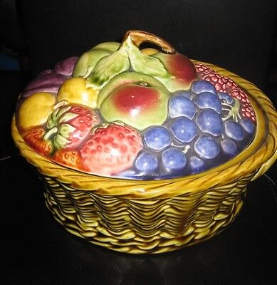 Majolica very rare vintage lidded 8 fruit, bowl basket Sarreguemines R(1861)# 53