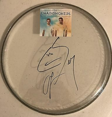 Chainsmokers Signed Autographed Drumhead Closer Memories Proof