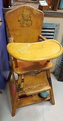 Vintage Wooden Child High Chair Highchair and Play Table