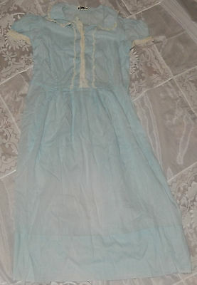 Vintage 1920S 30S Era Blue With Lace Trim Young Girls Dress