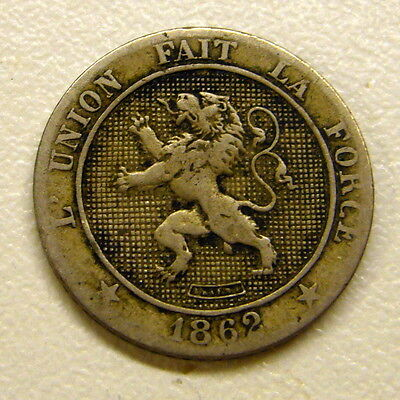 1862 BELGIUM 5 CENTIMES COIN     2 available