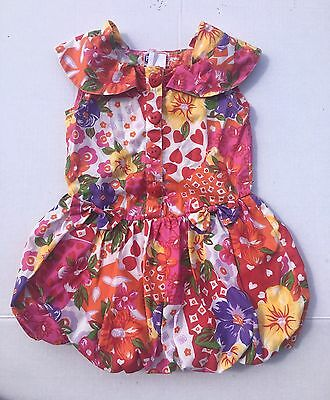 Vintage 4T dress with bubble skirt heart buttons flowers 1980s