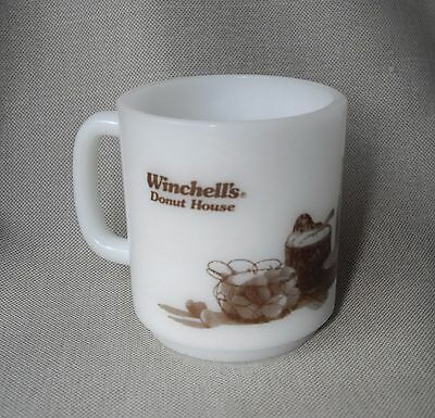 Winchell's Donut Glasbake Mid Century Milk Glass Advertising Mug coffee cup