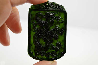 China handmade carved necklace natural jade Dragon pendant 龙