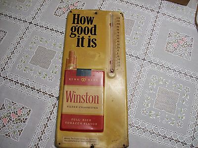 VINTAGE 1950's WINSTON CIGARETTES TIN LITHO THERMOMETER SIGN