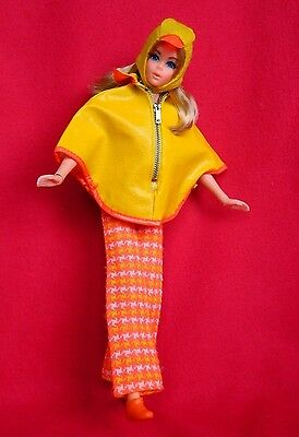 VINTAGE MOD LIVE ACTION BARBIE DOLL w/ PONCHO PUT-ON OUTFIT