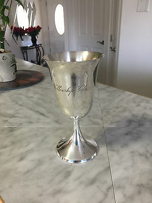 VINTAGE 1950's FELLOWSHIP Glass Silver Plated Water Wine Goblet
