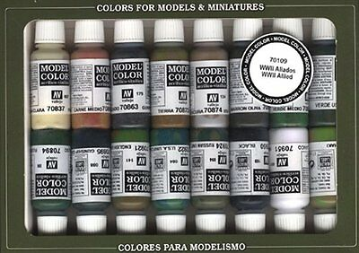 Vallejo Model Color Set - Wwii Allies (X16 Colours) - Val70109 (y7l)