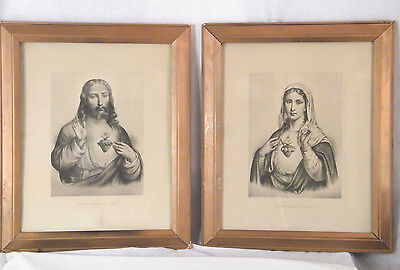 ANTIQUE PAIR ART DECO 1930's SACRED HEART OF JESUS and MARY WOODEN FRAME PRINTS