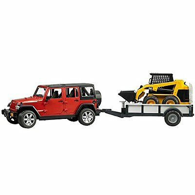 BRUDER JEEP Wrangler Unlimited Rubicon with one axle trailer and Cat skid (v4d)
