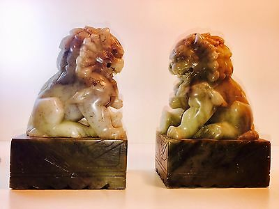 Vintage Pair Of Beautifully Carved Chinese Green Jade Foo Fu Dog Lion Statues