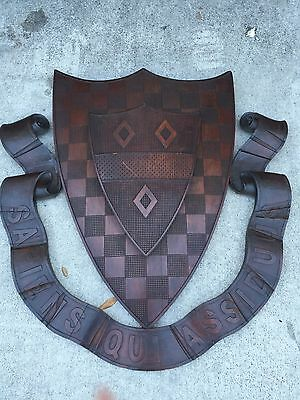 huge  CARVED WOOD ARMORIAL COAT OF ARMS HERALDIC SHEILD