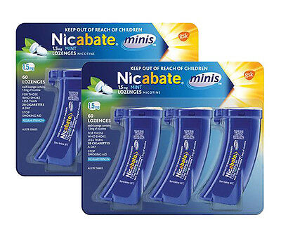 Best Price! 2 X Nicabate Minis 1.5Mg Mint Regular Strength (120 Lozenges Total)