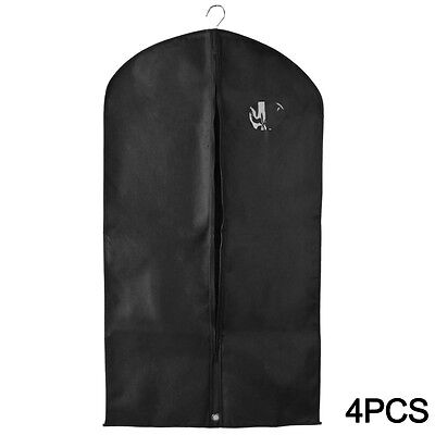 4pcs Breathable Suit Cover Garment Clothes Travel Protector Hanging Bag Black