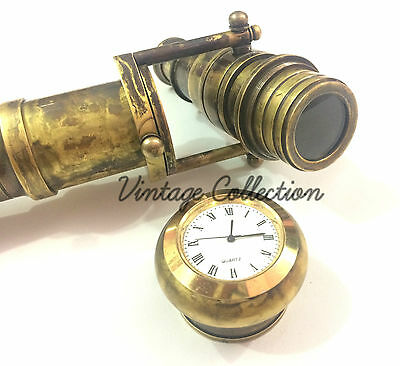 Foldable Wooden Walking Stick with Hidden Solid Brass Telescope w/ Clock on Top