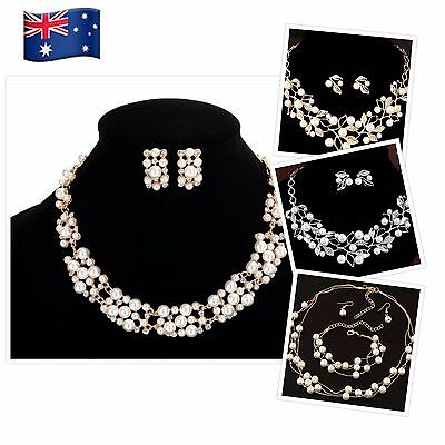 Woman Jewelry Bridal Wedding Necklace Bracelet Earrings Rhinestone Pearl JG51