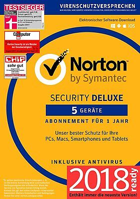 NORTON Security 2018 5 Geräte 5 PC Mac Android iOS Internet Security DE EU 2017