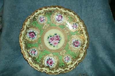 """Antique Nippon HAND PAINTED DISPLAY PLATE HIGH QUALITY GILT GOLD LARGE 10.25"""""""