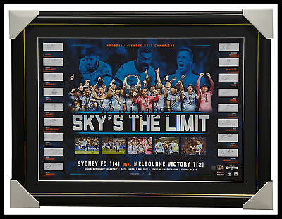 Sydney F.C. 2017 A-League Champions Official Signed Team Lithograph Framed + COA