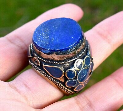 Lapis Tribal Ring Carved Ethnic Jewelry Turkish Gypsy Boho Festival Afghan Kuchi
