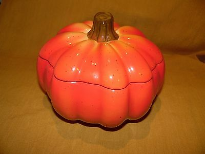 Ceramic Pumpkin Cookie Jar With Lid-Superb Condition-Near Mint-Have A Look Here!